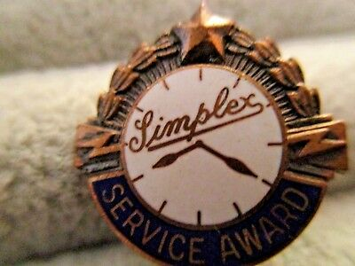 uncommon SIMPLEX TIME RECORDER CLOCK MAKERS Employee Service Award Vintage Pin