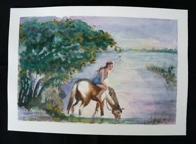 Girl on Horse at River Original Watercolor Painting by G Brannigan