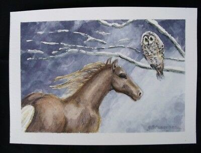 Owl and Horse Original Watercolor Painting by G Brannigan