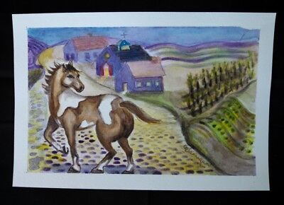Town Village Folk Art Horse Original Watercolor Painting by G Brannigan