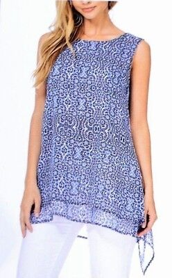 NWT Fever Ladies' Double Layer Tank Top Tunic Cobalt Blue Print Sleeveless MED
