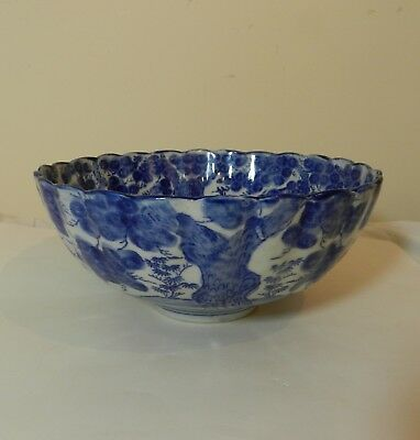 Antique Japanese Arita Nabeshima? Blue & White Bowl large