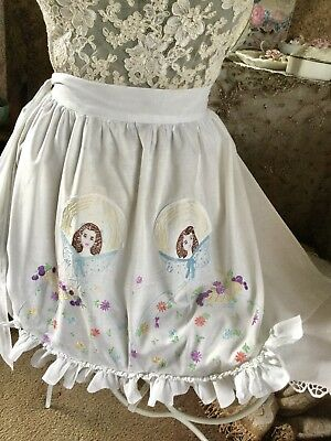Vintage Hand Embroidered Twin Southern Belle / Lady Apron