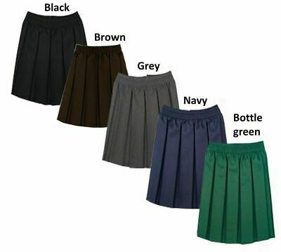 90b5ef4125 Girls Box Pleated School Uniform Elasticated Waist Kids Skirt Age 2-18 Years
