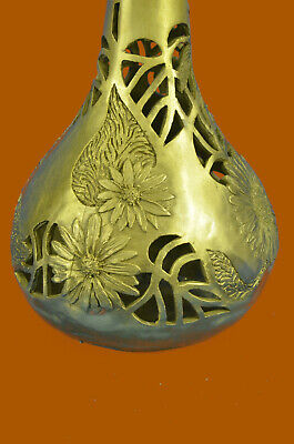 Art Deco Touch of Hollywood Regency Filigree 100% Real Bronze Vase Statue Gift