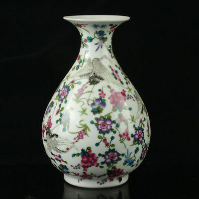 China Porcelain Painted Crane&Flower Noctilucent Vase Mark The Qianlong Period