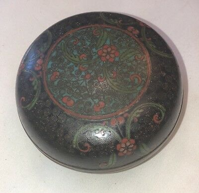 Antique Chinese Cloisonne Round Tobacco Box Tea Caddy