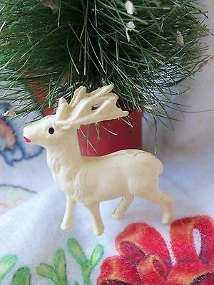 """Vintage 40's Celluloid Reindeer Marked Japan Rare 1 1/2"""" Tall Xmas Decoration"""