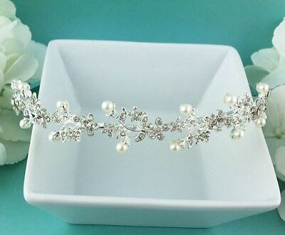 Allure Wedding Jewelry Olivia Rhinestone Crystal Pearl Bridal Headband