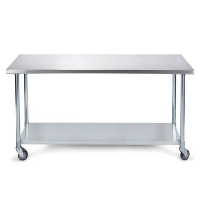 """36"""" x 24"""" Home Kitchen Utility Stainless Steel Prep Table Adjustable w/ Wheels"""