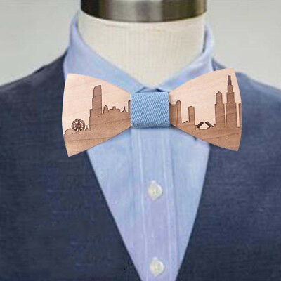 Men Wooden Bow Tie Accessory Wedding Party Bamboo Wood Bowtie Neck Wear