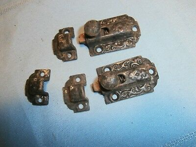 2 Antique Eastlake Victorian Cupboard Spring Loaded Cast Iron Latches