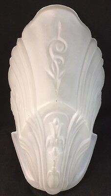 VINTAGE 1930's FROSTED WHITE GLASS SLIP SHADE CHANDELIER LIGHT SCONCE ART DECO