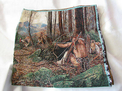 Indian Native American Hunting Turkey Hunters Tapestry Fabric Pillow Top Panels
