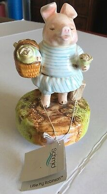 Collectable Beatrix Potter Little Pig Robinson Musical Box  by Schmid W/Tag