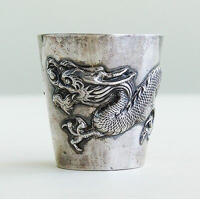 Antique Chinese Export Sterling Silver High Relief Dragon SIGNED Cup Vase