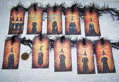 Halloween~Vintage Style~Witch~Society~Wicca~Linen Cardstock~Gift~Hang~Tags