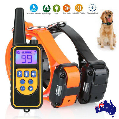 Electric Remote Dog Training Collar Anti Bark 800m Range Auto mode AU