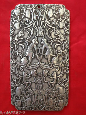 Old Chinese tibet Silver Many monkeys celebrating Bullion thanka amulet thangka