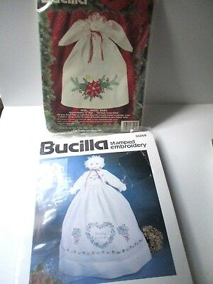 Lot of 2 Angel Kits Noel Baby Stamped Cross Stitch Guardian Angel FREE SHIP