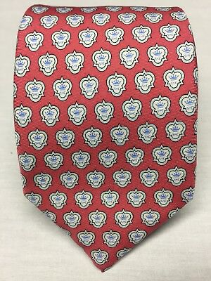 Vineyard Vines Custom Collection Crown Pink 100% Silk NeckTie Made In USA EUC
