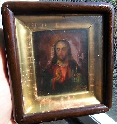 "Antique Russian Icon of ""Christ Pantocrator"" in the kyot. 19th Century."