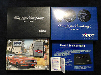 Imported Japan 2002 Zippo Lighter Ford Motor Company 100 Year 1964 1/2 Mustang