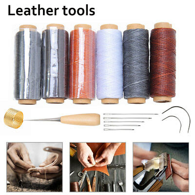 15x Leather Craft Punch Hand Tools Kit Stitching Carve Working Sewing Saddle Kit