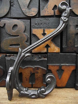 5 Victorian Style Cast Iron Coat Hooks, old vintage antique edwardian style