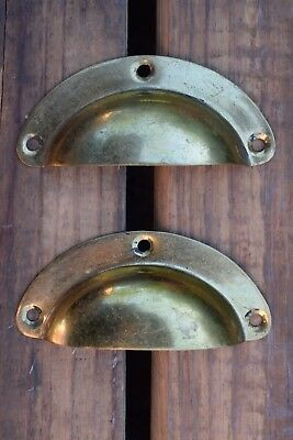 Pair Vintage Reclaimed Brass Cup Handle old drawer pull table pine chest kitchen
