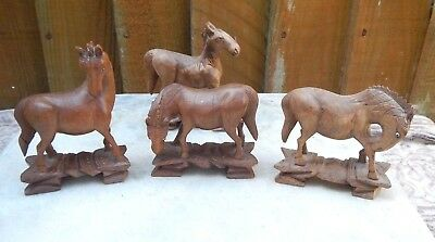 Antique Chinese 4 Small Hand Carved Rosewood Horses With Glass Eyes