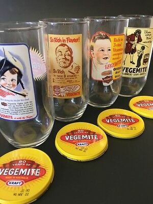 Vegemite Glass or Tumbler - Set of 4 with Lids - 80 Years