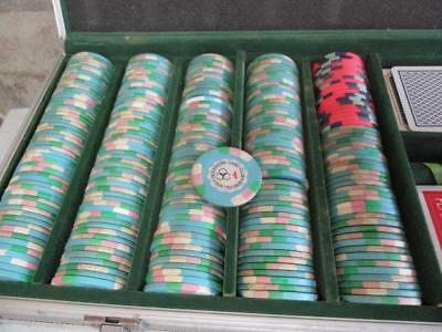 Vintage Genuine 'oceanside Card Club' Clay Poker Chips Vegas Usa Silver Case