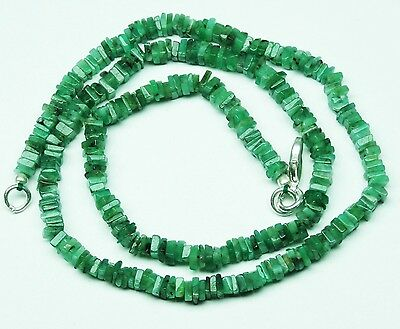 """Natural Gem Emerald 4Mm Square Heishi Beads Finished Necklace 68Ct. 16"""""""