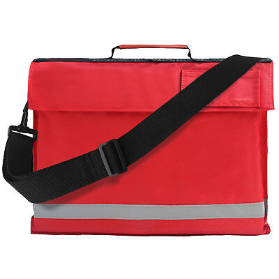 Red Euro A4 Book Bag With Strap Kids Junior School Conference Reflective Strip