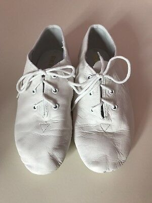 Bloch White Leather Split Sole Jazz Shoes Size 13 Worn Once,Excellent Condition!