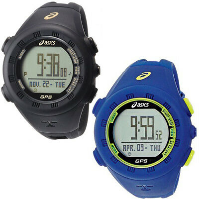Asics GPS AG01 Running Training Black Blue Water Resistant Watch CQAG01 0102 Kit