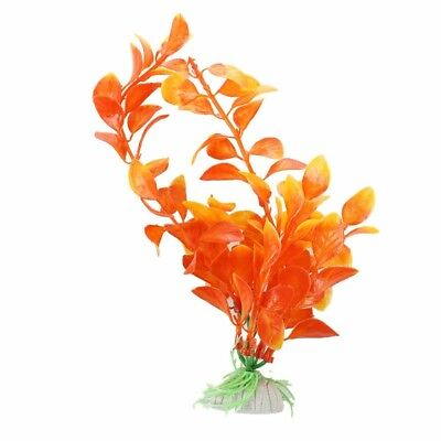 Orange Artificial Plant Plastic Aquarium Decoration PK T7V6