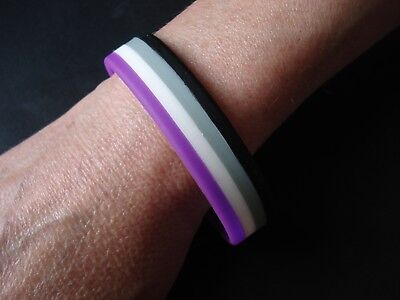 ASEXUAL -  LGBT Pride *** LARGE *** Silicone Gay Lesbian Wristband Bracelet