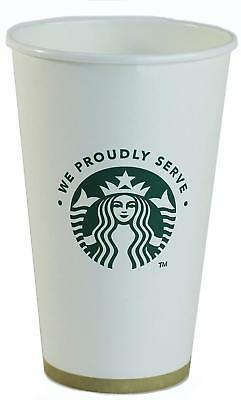 16 oz White Starbuck Disposable Paper Cup 100 Pack for a Coffee Nook Snack Bar