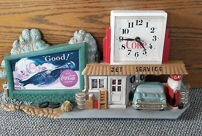 1990 Vintage Coca Cola Wall Clock Rt. 66 Gas Station 1955 Chevy DINER