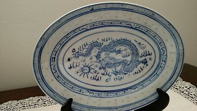 Vintage Blue & White Chinese Tienshan Dragon Rice Eye 7x10 Inch Oval Plate