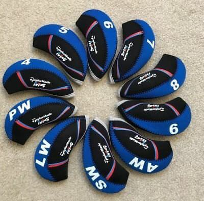 10PCS Black&Blue Quality Neoprene Taylormade M4 Golf Club Iron Covers HeadCovers