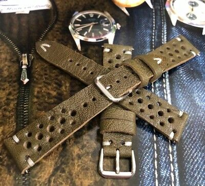 18 19 20 21 22mm Vintage Italian Genuine Leather Rally Racing Watch Strap H/Made