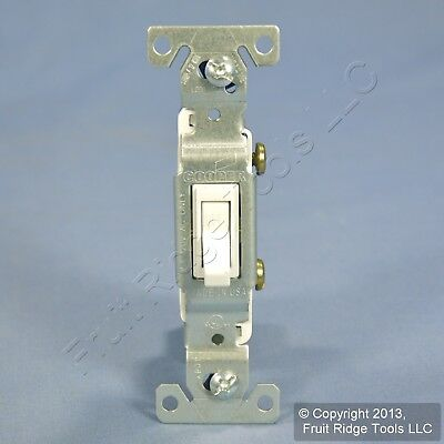 Cooper White Quiet Toggle ON/OFF Light Switch Single Pole 15A 120V Bulk 1301W