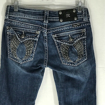 Miss Me Skinny Denim Jeans Angel Wings Crystals Sz 28 JP60035