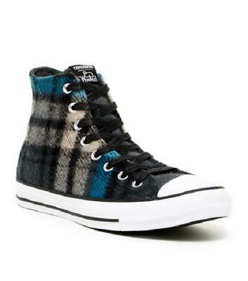 Converse WOOLRICH Wool Teal Grey Black Plaid Lined Hightop Shoes Unisex DISC NEW
