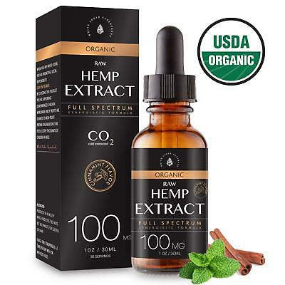 Organic Hemp Extract for Pain & Stress Relief 100MG, Cinnamint Flavor, Full with