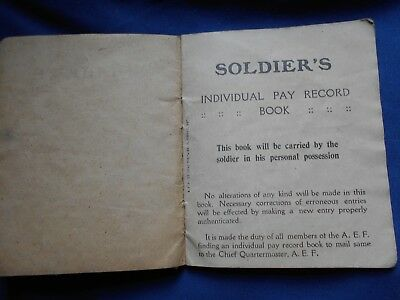WW l 100 yrs old Soldier's Pay Record Book of Arthur J Conner Nov 1,1918-1919