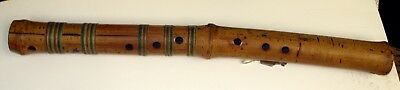 "Unique Vintage Wood Hand Carved Wood Bamboo Flute  HAND MADE 21"" LONG"